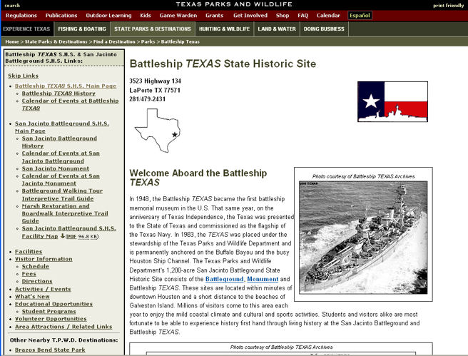 Battleship Texas home page