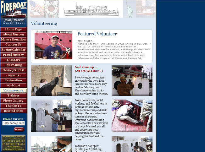Fireboat.org's volunteer page