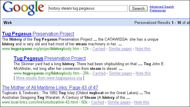 The page title shown on the search results list